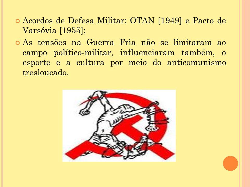 Acordos de Defesa Militar: OTAN [1949] e Pacto de Varsóvia [1955];